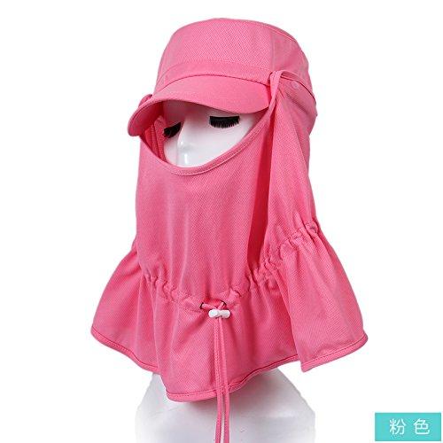FQG*visiera schermo solare femmina grande tappo inverno lungo l'uv nero faccia cappelli tour cappellino , rosa femmina