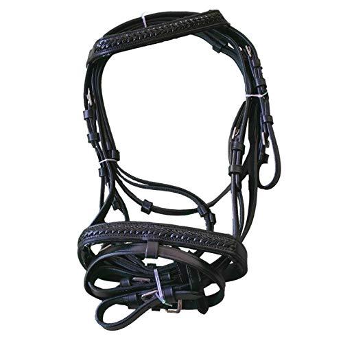 netproshop Pferde Zubehör Englisch Leder Trense mit Anti-Rutsch-Zügel für die Kleinen, Groesse:Mini Shetty, Farbe:Schwarz