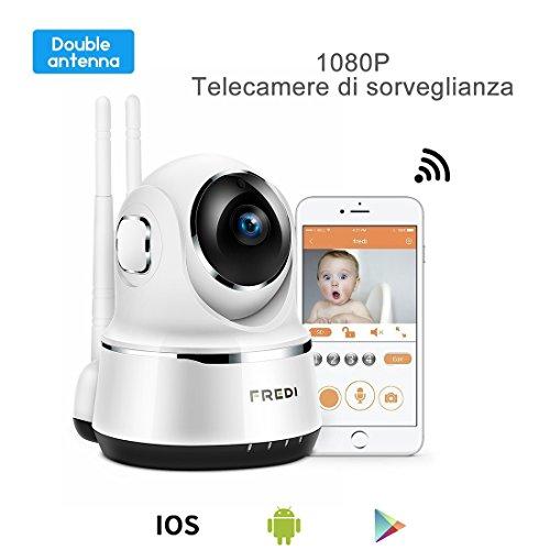 FREDI 1080P IP Telecamera di Sorveglianza Wifi Wireless Camera Interno Telecamera wi-fi senza fill con Controllo Remoto, Audio Bidirezionale, Modalità...
