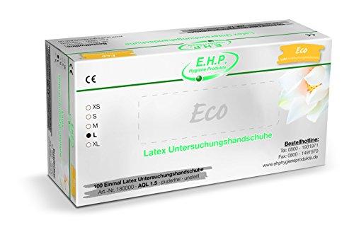 L Pflegedienst (EHP Dental ECO Latexhandschuhe, Einweghandschuhe, Untersuchungshandschuhe, 100 Stück, Größe L)