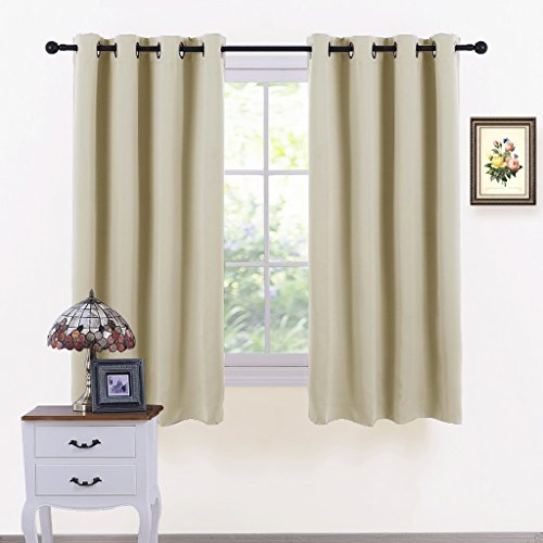 Beige Window Curtain Home Decor   PONY DANCE Top Eyelet Blackout Curtains  Energy Saving Short Drapes Blinds For Kitchen Bedroom / Room Darkening U0026  Noise ...