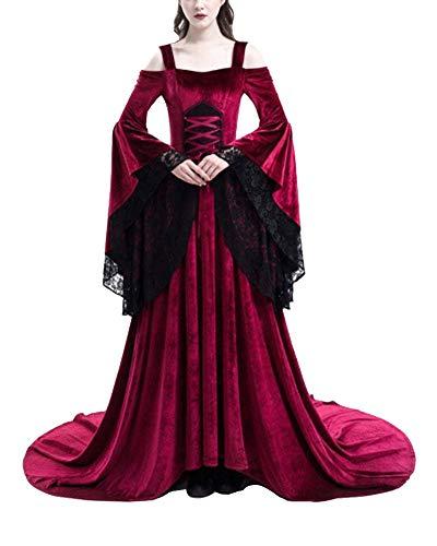 Costumi di Halloween Donne Abiti in Pizzo con Spalle Scoperte Medievali Vestito Regina Principessa Adulto Rosso S