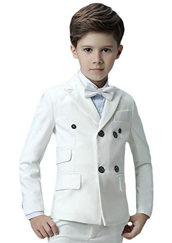 Icegrey Jungen Anzug 5 Stück Smoking Festlicher Jacke Hemd Weste und Hose Anzug für Kommunion Fest Taufe Hochzeit Weiß 110 Jahren 4 (Front, Gefüttert Anzug Voll Flacher)