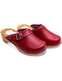 futuro Fashion femmes en bonne santé naturel cuir véritable en bois semelle Uni sabots unisexe Couleurs Tailles 3-8 UK