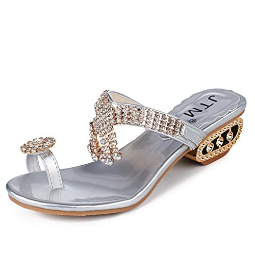 Sandale-plattform Silber (TPulling Sommer Damen﹛Zehenquadrat mit Pantoffeln﹜Sandalen und Hausschuhe﹛Strass Keile Kristall﹜High Heels Plattform Absatz Wildleder Flip Flop Outdoor-Schnürschuhe Lässige Schuhe (40=EU:39, Silber))