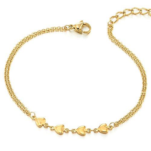 - 41UmpTudu3L - Zweireihige Gold Edelstahl Damen-Fußkette Fußkettchen mit Herz Charms und Klingglöckchen [object object] - 41UmpTudu3L - Home