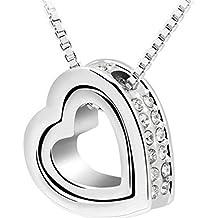 Collana Donna, DDLBiz Doppio di modo di cristallo del cuore strass elegante Collana argento eterno amore per donna