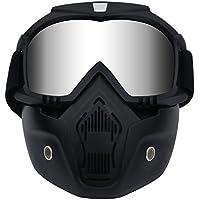 Tongshop Bullet Fight Motocross Masque amovible anti-brouillard de casque de moto chaud avec filtre de bouche réglable et sangle antidérapante vintage Harley, Silver