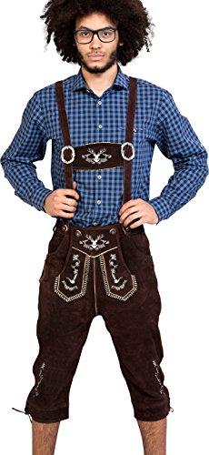 Almwerk Herren Trachten Lederhose Kniebund Modell Hipster in schwarz, braun und Hellbraun, Farbe:Braun;Lederhose Größe Herren:54