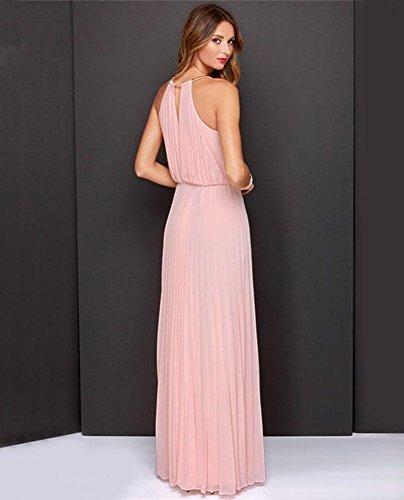 Damen Sommer Kleid Elegante Cocktail Party Kleider Maxi ärmellosen Chiffon Mädchen Abendkleid Strandkleid Rosa