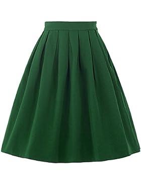 Belle Poque®Vintage Falda de Color Verde Negro Rojo Azul Liso Plisada para Mujeres