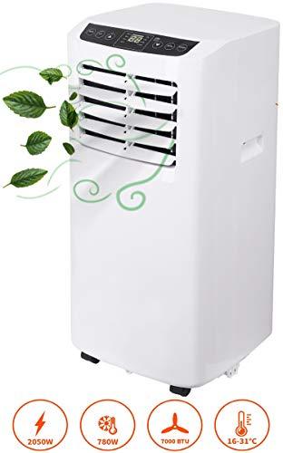 3in1 Mobile Klimaanlage | 7000 BTU | 2050 Watt | Aircooler | Klimagerät | Klima Ventilator mit Fernbedienung | Luftreiniger | Klima Anlage | Air Cooler | 2 Geschwindigkeitsstufen | Timer (7000 BTU)
