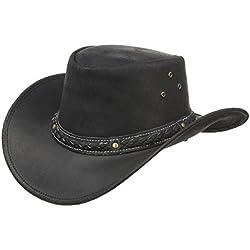 Sombrero de Piel Borderland sombrero de vaqueropiel (XL/60-61 - negro )