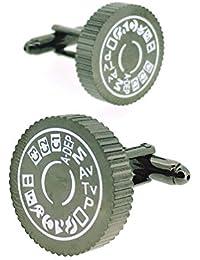 Gemelolandia - Gemelos fotógrafo rueda de menu camara reflex de forma redonda, color acero y blanco