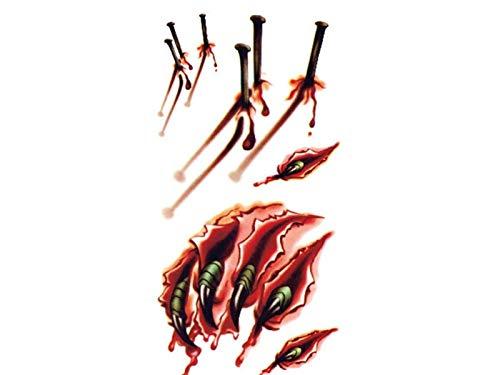Yyanliii divertente autoadesivo del tatuaggio di cicatrici di sangue spaventoso di halloween adesivo temporaneo di cane di orrore di halloween (rosso)