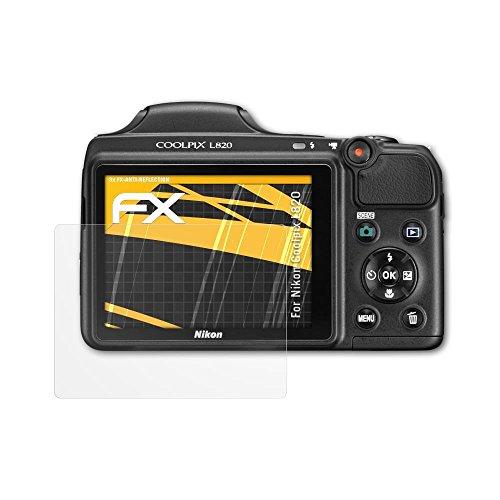 atFoliX Panzerfolie kompatibel mit Nikon Coolpix L820 Schutzfolie, entspiegelnde und stoßdämpfende FX Folie (3X)