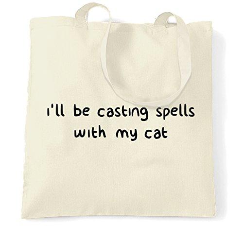 Ich werde mit meinen Katzen-Zauber Be Halloween Hexerei Magie Tragetasche