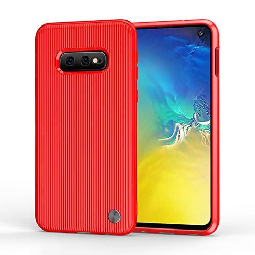 Wareba Hülle für Samsung Galaxy S10e Hülle,TPU Case Ultradünn Handyhülle Silikon Bumper Cover Tasche mit Stoßdämpfung & Carbon Faser Handyhülle für Samsung Galaxy S10e-Red