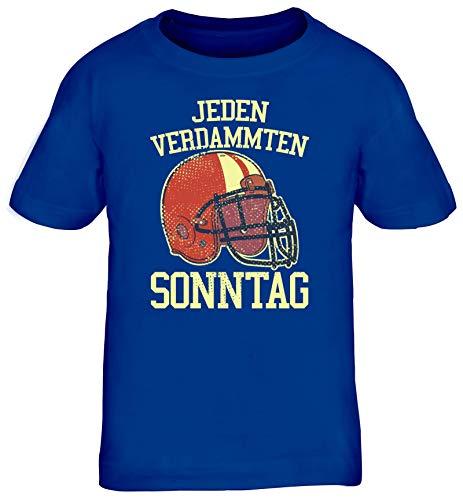 American Football Gruppen Fan Kinder T-Shirt Rundhals Mädchen Jungen Jeden Verdammten Sonntag 2, Größe: 152/164,royal blau