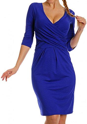 Zeta Ville - Robe élégante en jersey - Manches 3/4 Décolleté en V - Femme - 524z Bleu Royal