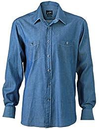 JAMES & NICHOLSON - chemise manches longues jean DENIM - JN629 - Homme