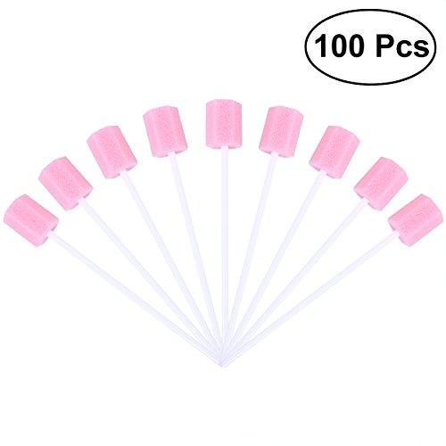 Einweg rosenice Zahn-Reinigung Pflege mündliche Schwamm Schwamm Schwämmen 100pcs (Pink) - Toothette Oral Care
