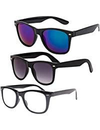 Ivonne Wayfarer Unisex Sunglasses (Black, Clear, Blue)