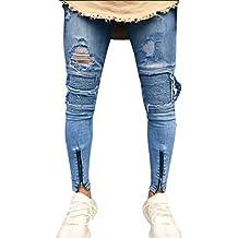 3c792da57d29d OHQ Pantalon éTroit à Fermeture éClair pour Hommes Bleu Slim Biker Zipper Denim  Jeans Skinny Effiloché