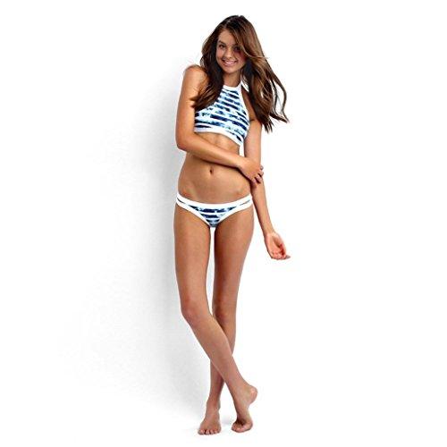 Maillot de Bain Femme 2 Pieces ❤️ Femmes Bikini Bandage Ensemble Push-Up Rembourrés Soutien-Gorge Maillots de Bains blue