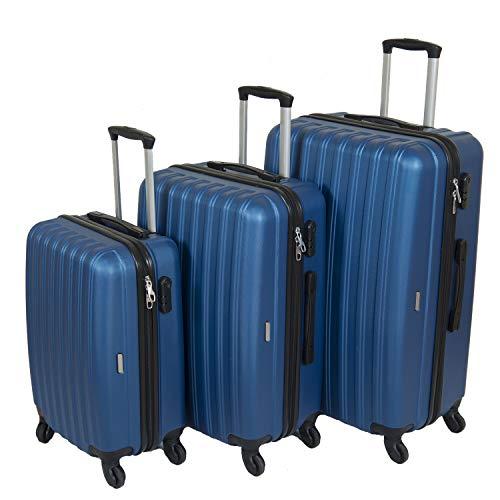 Reisekoffer 3er Kofferset Hartschalenkoffer Suitcase Trolley Koffer Hartschale Economy (Blau)