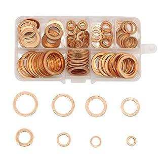 Alohha Dichtungsringe, flach, Kupfer, metrisch, 9 Größen, 200 Stück