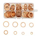 Alohha 200PCS 9 misure piatto anello metrico in rame sigillante rondelle assortimento set