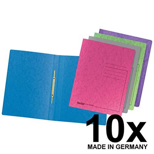 Original Falken 10er Pack Premium Schnellhefter Trendmix. Made in Germany. Aus extra starkem Colorspan-Karton farbig sortiert für DIN A4 kaufmännische Heftung Hefter ideal für Büro und Schule