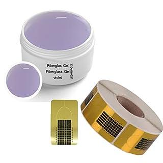 1x LED-UV Fiberglas Gel Violet klar 30 ml incl. 1x Modellierschablonen (500 St.)