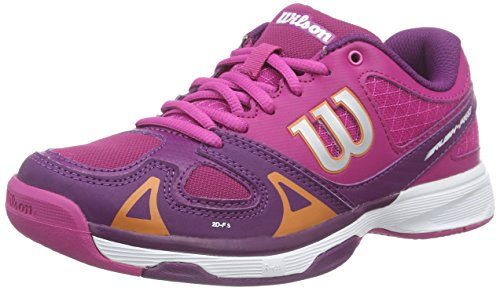 Wilson RUSH PRO JR, Scarpe da Tennis Unisex - Bambini, Multicolore (FIESTA PINK WILSON/DARK PLUMBERRY/CLEMENTIN), 36 1/3 EU