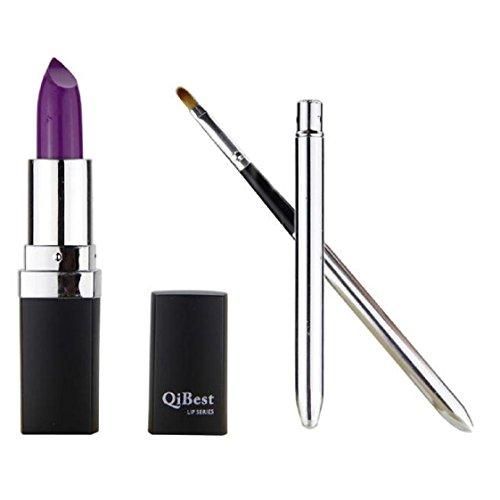 Vovotrade Mode étanche Liquid Makeup Lip Pencil Matte Lipstick Lip Gloss Super Long Lasting + Mini pinceau à lèvres (Lila #3)