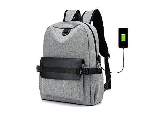 Imagen de y double  tipo casual /  vintage de lona y cuero / bolso casual para viajes / bolsa de escuela / portátil bolsa  adecuada para 15' cuaderno gris 1