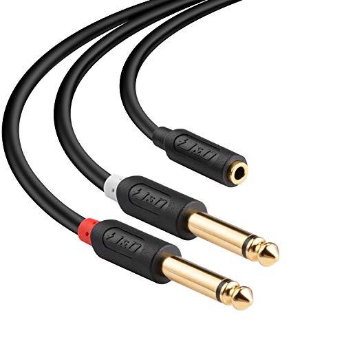 J & D 3,5 mm zu 2X 6,35 mm Kabel, Gold-Plated [Audiowave-Serie] 3,5mm (1/8 Zoll) TRS Weiblich auf 2 x 6,35mm (1/4 Zoll) TS Männlich PVC-Überzug Stereo-Audio-Adapter Y-Splitter-Kabel - 6 Feet 6 Audio-splitter