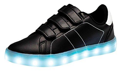 Santiro Unisex Kinder LED Sportschuhe für Jungen Mädchen USB Aufladen 7 Lichtfarbe Sport Schuhe Laufschuhe Leuchtend Sneaker Turnschuhe.SSK014B1-35 (Leuchten Tennis Schuhe)