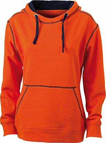 JN960 Ladies´ Lifestyle Hoody Sweatshirt Kapuze Damen Dark Orange-Navy