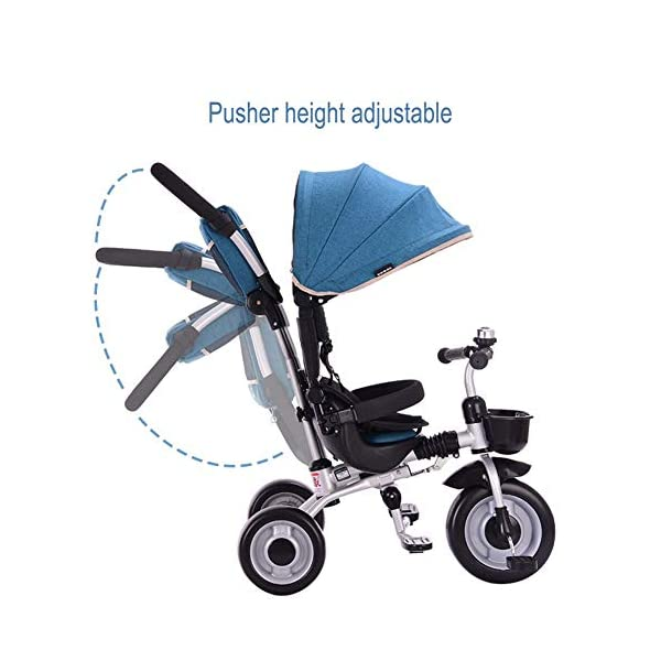 GSDZSY - Foldable Children Tricycle 4 IN 1 With Comfortable Seat With Fence And Seat Belt, Adjustable Putter And Awning, 1-6 Years Old GSDZSY ❀ MATERIAL : High carbon steel + ABS + rubber wheel, suitable for children from 1 month to 6 years old, maximum load 30 kg ❀ FEATURES : The push rod can be adjusted in height , the baby can sit or recline; the adjustable umbrella can be used for different weather conditions ❀ PERFORMANCE : high carbon steel frame, strong and strong bearing capacity; non-inflatable rubber wheel, suitable for all kinds of road conditions, good shock absorption, seat with breathable fabric, baby ride more comfortable 2