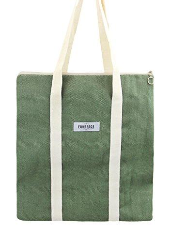 Liying Neu Damen Einkauftasche Umhängetasche Handtasche Große Tragetasche Reisetasche Schultasche Beuteltote Canvas Trage Tasche Messenger Bag Pink Grün