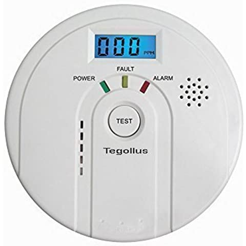 Tegollus Detector de monóxido de carbono, alarma con pantalla digital electroquímico, sensor, pantalla digital, alerta de voz y batería de