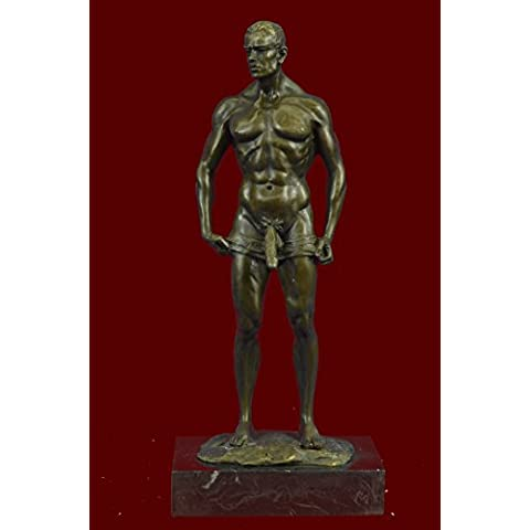 Statua di bronzo Scultura...Spedizione Gratuita...Firmato Handcrafted Depict di nudo Gay base di marmo(ST-083-JP)Statue Figurine Figurine Nude per ufficio e casa Décor Primo Giorno Collezionismo Arti