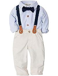 4e68c2338d16b ZOEREA 2Pcs Bébé Garçon Ensemble de Costume Chemise Rayée + Pantalon pour  Mariage Baptême Tenues Vêtement