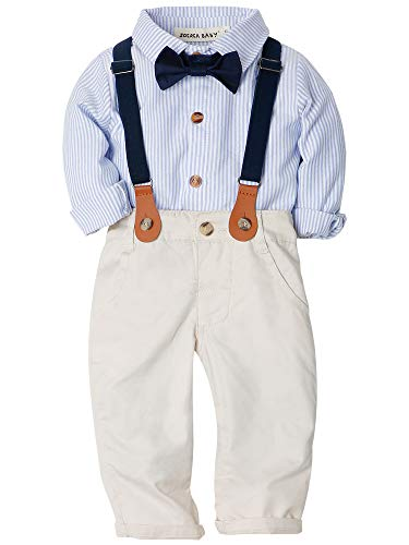 Zoerea Baby Jungen Gentleman Suit Hosen Hemd Fliege Hosenträger für Weihnachten Hochzeitsfest Blau,110