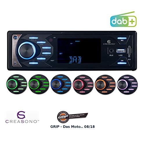 Creasono Autoradio 1 DIN: MP3-Autoradio mit DAB+, Bluetooth & Freisprech-Funktion, 4X 45 Watt (DAB Autoradios mit MP3, Bluetooth)