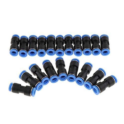 Homyl 10x Heavy-Duty Push-In Fitting Steckverbinder Pneumatik-gerade Stecker Luftschlauch Verbinder 4mm-16mm - Schwarz 6mm
