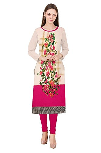 independence day offer Amazon Prime Crap Cotton Kurti For Women New Collection Crepe Cotton Material Semi_stiched Printed Cream Kurti For Women Low Price Amazon prime kurti