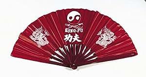 Kung Fu éventail, textile, baguette en bois, rouge. 60 x 32 cm